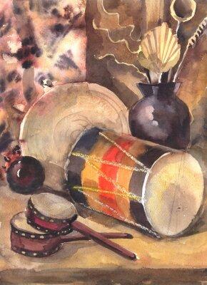 Image Aquarelle, encore, vie, tambour