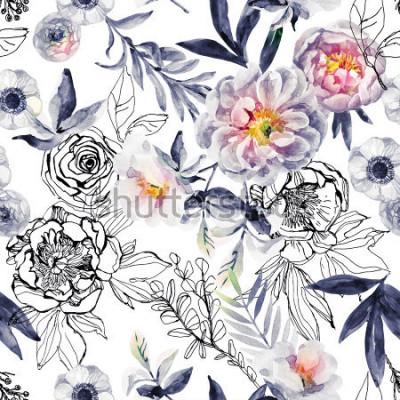 Image Aquarelle et encre doodle fleurs, feuilles, modèle sans couture de mauvaises herbes. Peint à la main, fond floral dessiné avec pivoines, anémones, renoncules, branche de rose de chien, herbes de prair