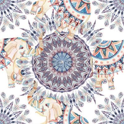 Image Aquarelle ethnique fond de mandala d'éléphant et de plume. Modèle sans couture de plume abstraite avec des éléphants indiens ornés sur fond blanc. Illustration peinte à la main pour boh