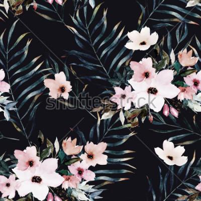 Image Aquarelle exotique modèle sans couture, feuilles tropicales vertes, fleurs, illustration botanique de l'été sur fond noir