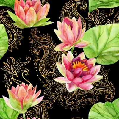 Image Aquarelle fleur de lotus sur or ornement. Seamless, modèle