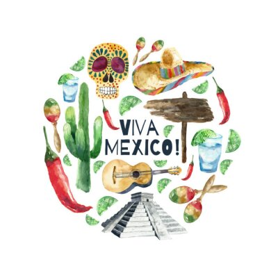 Image Aquarelle icônes du mexique.