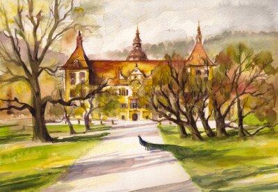 Image Aquarelle, Illustration, paon, Parc, devant, façade, Eggenberg, château, Graz, Styrie, Autriche