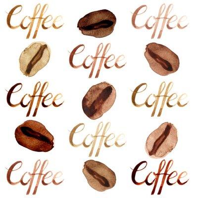 Image Aquarelle isolé illustré et peint les grains de café brun et jeu de modèle de lettrage