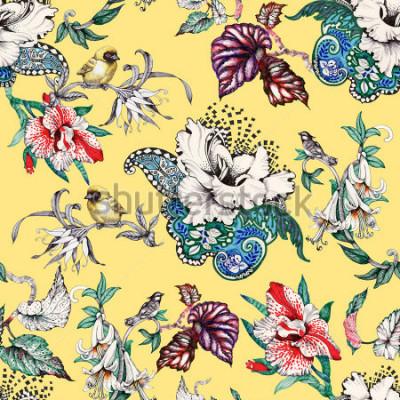 Image Aquarelle main dessiné modèle sans couture avec des fleurs d'été tropical et oiseaux exotiques sur fond jaune