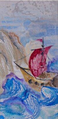 Image Aquarelle, marine, bateau, voile, orageux, mer, lan