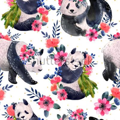 Image Aquarelle modèle sans couture avec des pandas et des fleurs isolés sur fond blanc. Étoiles d'or sur le fond. Illustration aquarelle