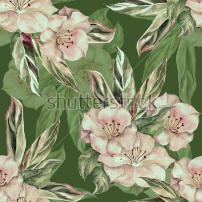 Image Aquarelle motif tropical sur fond vert fonce. Modèle sans couture de handiwork.