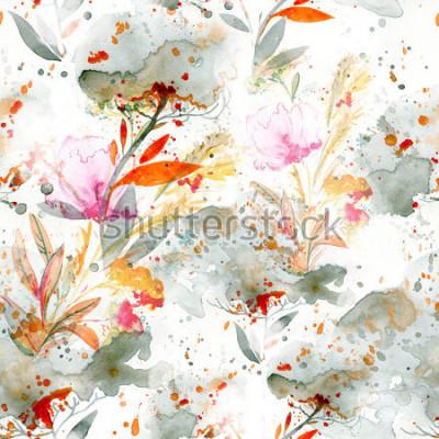 Image aquarelle naïve - verser et éclabousser. motifs floraux. modèle sans couture peint à la main. fond pour la décoration et le design textile. papier peint botanique. cadre floral art boho chic