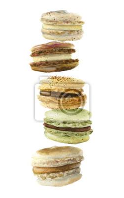 image aquarelle nuances de dessert de macarons franais beige