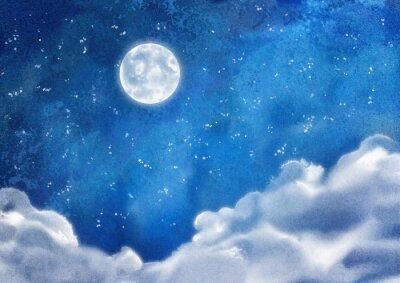 Image Aquarelle nuit Nuages