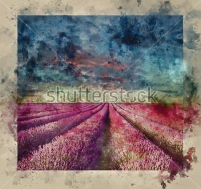Image Aquarelle numérique de magnifique coucher de soleil d'été sur paysage de champs de lavande