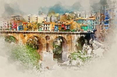 Image Aquarelle numérique de Villajoyosa / La Vila Joiosa. Costa Blanca. Province d'Alicante, Communauté de Valence, Espagne