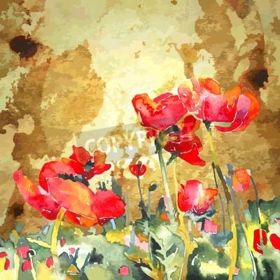 Image aquarelle originale de fleur de pavot en fond d'or