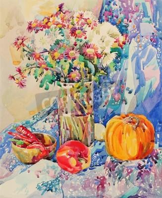 Image aquarelle originale morte avec des fleurs, la citrouille, la pomme, la draperie et piment, peinture impressionniste, illustration vectorielle