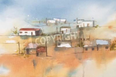 Image Aquarelle originale, Village africain.