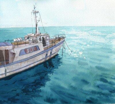 Image Aquarelle paysage de la mer avec des bateaux