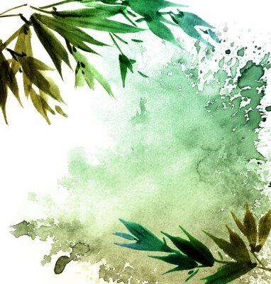 Image Aquarelle peinte feuillage des arbres