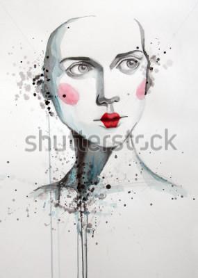 Image aquarelle portrait de belle femme | fait main | fait soi-même | La peinture