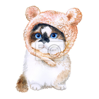Aquarelle portrait de mignon chaton dans le chapeau avec des oreilles isolé sur fond blanc. Main, dessiné, doux, maison, pet. Des couleurs vives, un design réaliste. Conception de carte de voeux. Clip
