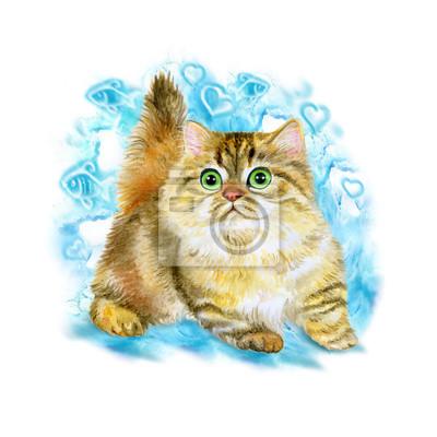 Aquarelle portrait de minou ou napoléon mignon chaton isolé sur fond bleu. Main, dessiné, détaillé, doux, maison, animal familier Des couleurs vives, un look réaliste. Conception de carte de voeux. Cl