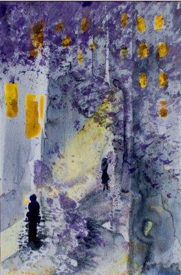 Image Aquarelle, résumé, urbain, paysage