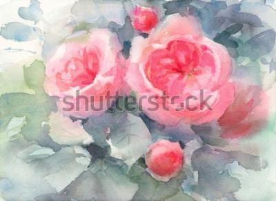 Image Aquarelle Roses Fleurs Floral Fond Texture Illustration Peint à La Main