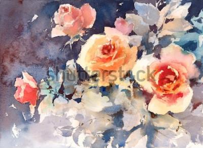 Image Aquarelle Roses Fleurs Floral Fond Texture Peint À La Main