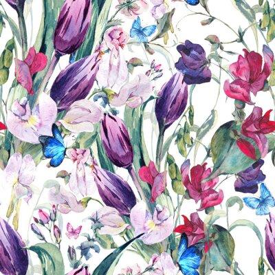 Image Aquarelle, seamless, fond, doux, pois, tulipes