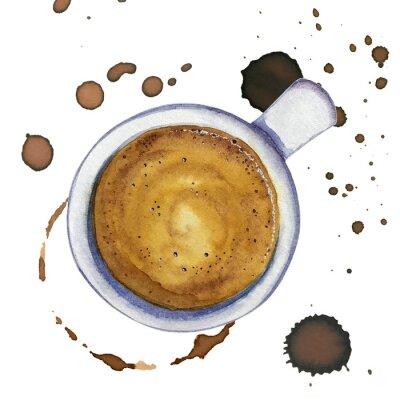 Image Aquarelle, tasse de café expresso avec taches et marques de café, vue de dessus.