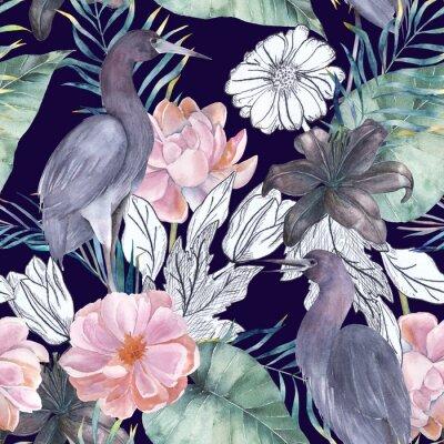 Image Aquarelle transparente motif avec des éléments d'encre. Oiseaux et fleurs exotiques. Illustration dessinée à la main