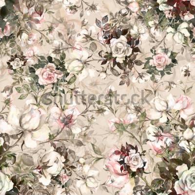Image Aquarelle transparente motif bouquet de roses en bouton Y. Beau modèle de décoration et de design. Imprimé à la mode. Modèle exquis de croquis aquarellés de la fleur. Tonique.