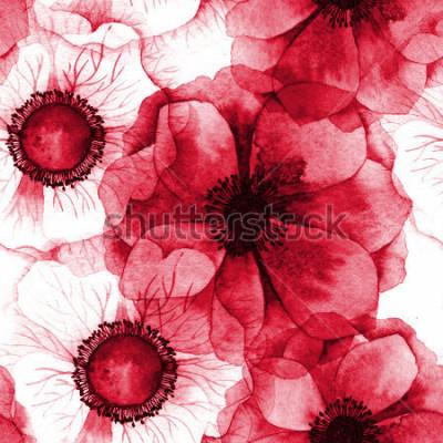 Image Aquarelle transparente motif d'anémones. Texture raster pour bannière, invitation ou autre conception.