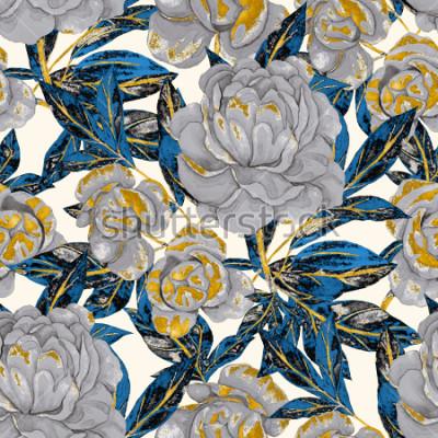 Image Aquarelle transparente motif de pivoines. Design floral. Fond de mariage romantique. Modèle sans couture de l'été lumineux. Papier peint botanique.