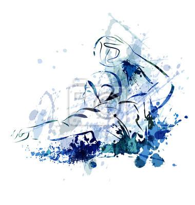 Image Aquarelle, vecteur, Illustration, eau, polo, joueur