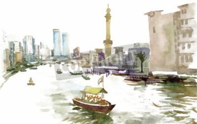 Image Aquarelle, ville, canal, bateau, Illustration, vecteur