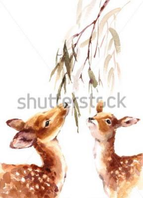 Image Aquarelles, deux, cerfs, peau royale, brunch, à, feuilles, peint, main, illustration, isolé, blanc, fond
