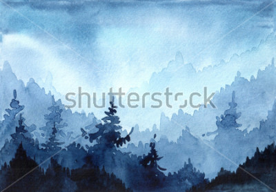 Image Aquarelles illustration dessinée avec forêt d'hiver. Paysage d'hiver avec des arbres de Noël. carte de Noël