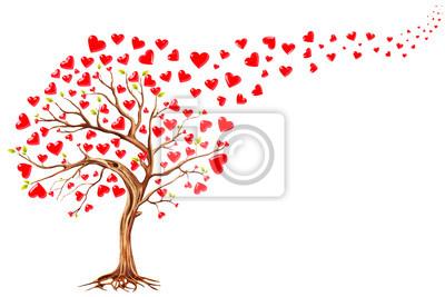 Arbre, cœurs, valentines, jour, fond, Illustration