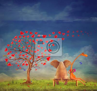 Arbre de coeurs, fond de jour de valentines, illustration.The amour entre un éléphant et une girafe dans le jardin.
