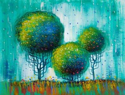 Image Arbres, peinture à l'huile, fond artistique