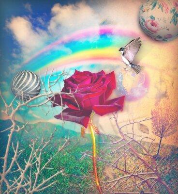 Image Arc-en-ciel et rose rouge dans la vallée verte