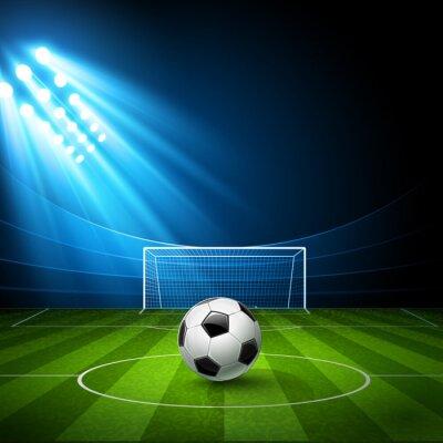 Image arène de football avec un ballon de football. Vecteur