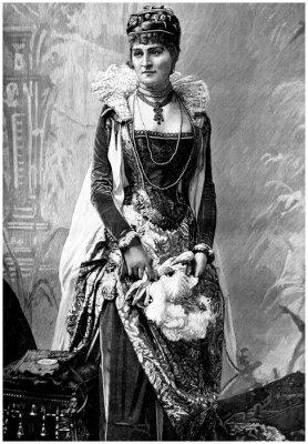 Image Aristocratique Lady (19ème siècle) avec Wears 16ème siècle