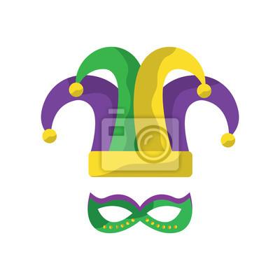 Arlequin Chapeau Masque Mardi Gras Carnaval Icône Image Vector