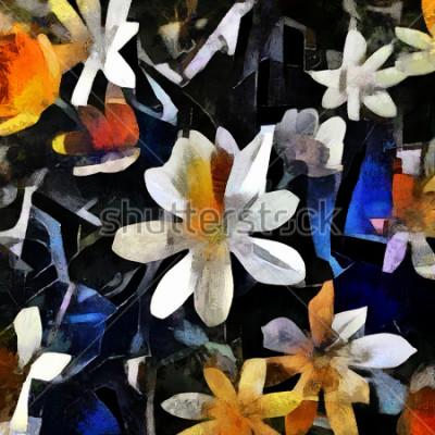 Image Arrangement floral dans le style du cubisme abstrait. L'image est faite à l'huile sur toile avec des éléments de peinture acrylique.