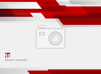 Image Arrière-plan de mouvement brillant de couleur rouge géométrique de technologie abstraite.