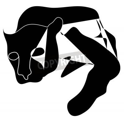 Image Art cubism black silhouette of black pantera