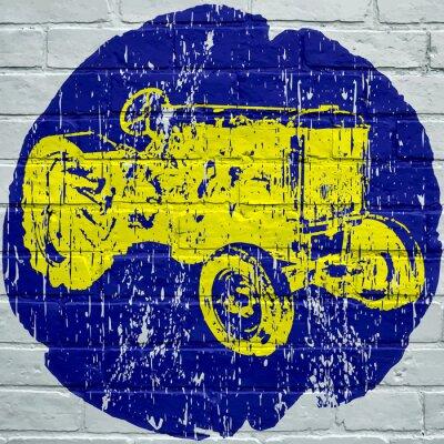 Image Art de rue. Tracteur agricole grunge