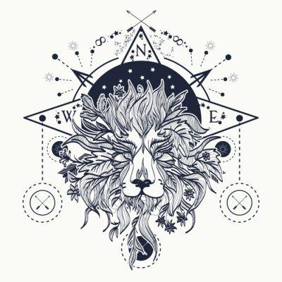 Art Mystique De Tatouage De Lion Alchimie Religion Spiritualite Peintures Murales Tableaux Alchimie Medievale Hippie Myloview Fr